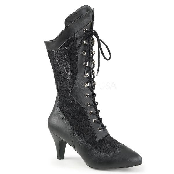 Schwarze Stiefelette in Kunstleder kombiniert mit Spitze und Schnürung DIVINE-1050